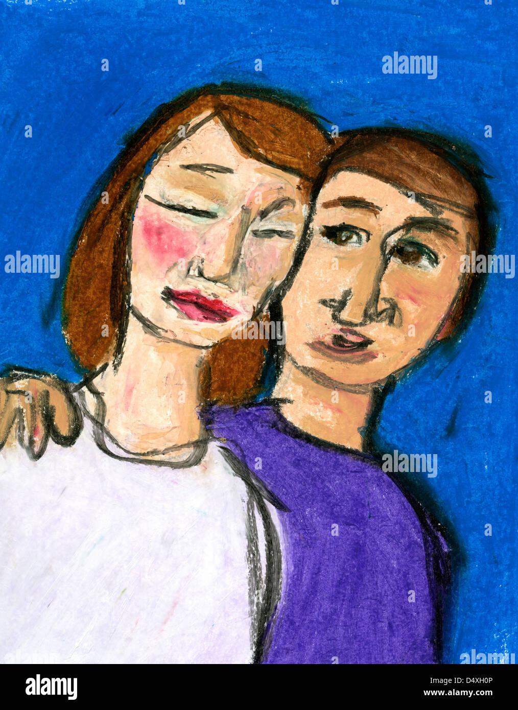 Mann, eine Frau zu trösten. Stockfoto