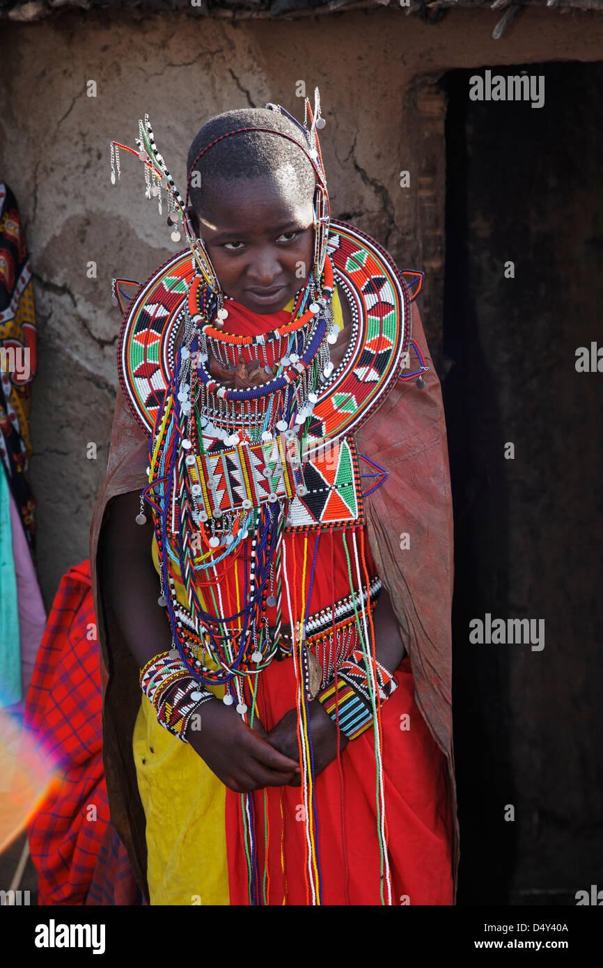 Junge Braut Wahrend Der Trauung Massai Mara Kenia Stockfoto Bild