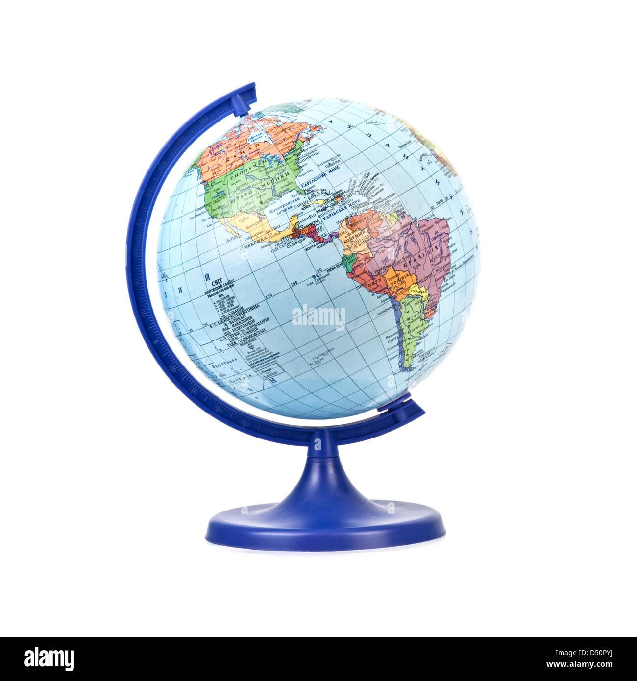Globus isoliert auf weißem Hintergrund Stockbild