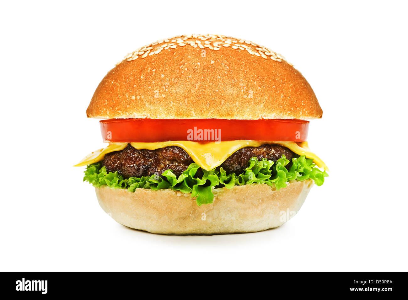 Sandwich mit roten Zwiebeln, isoliert Stockbild