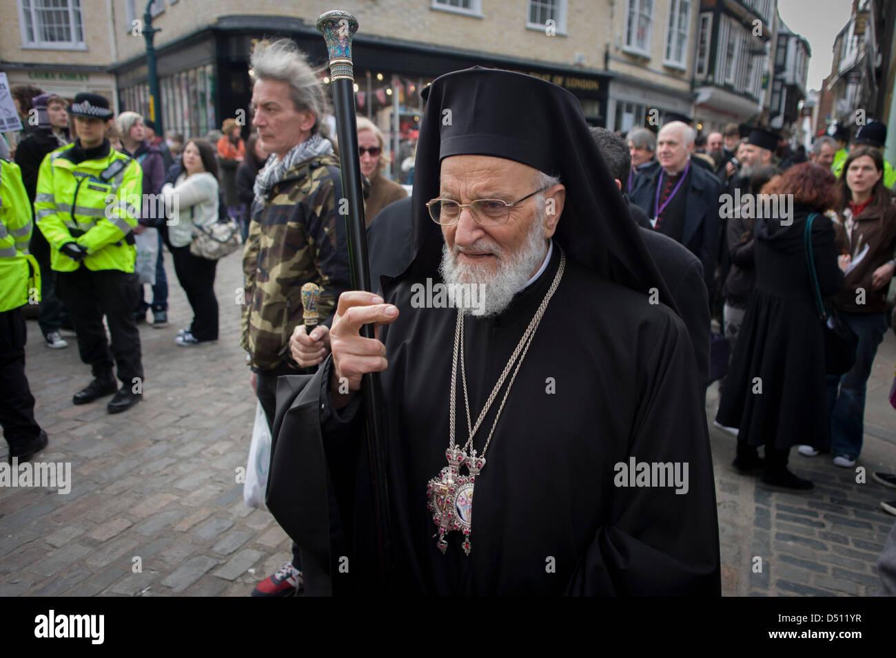 Canterbury, UK. 21. März 2013. VIP-Gäste aus allen Religionen, Konfessionen und Glaubensrichtungen Fuß Stockbild