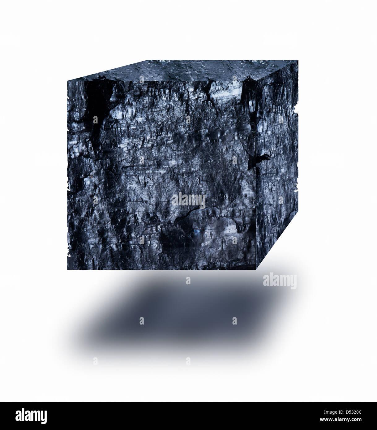 Kohle cube schwebend in der Luft auf weißem Hintergrund Stockbild