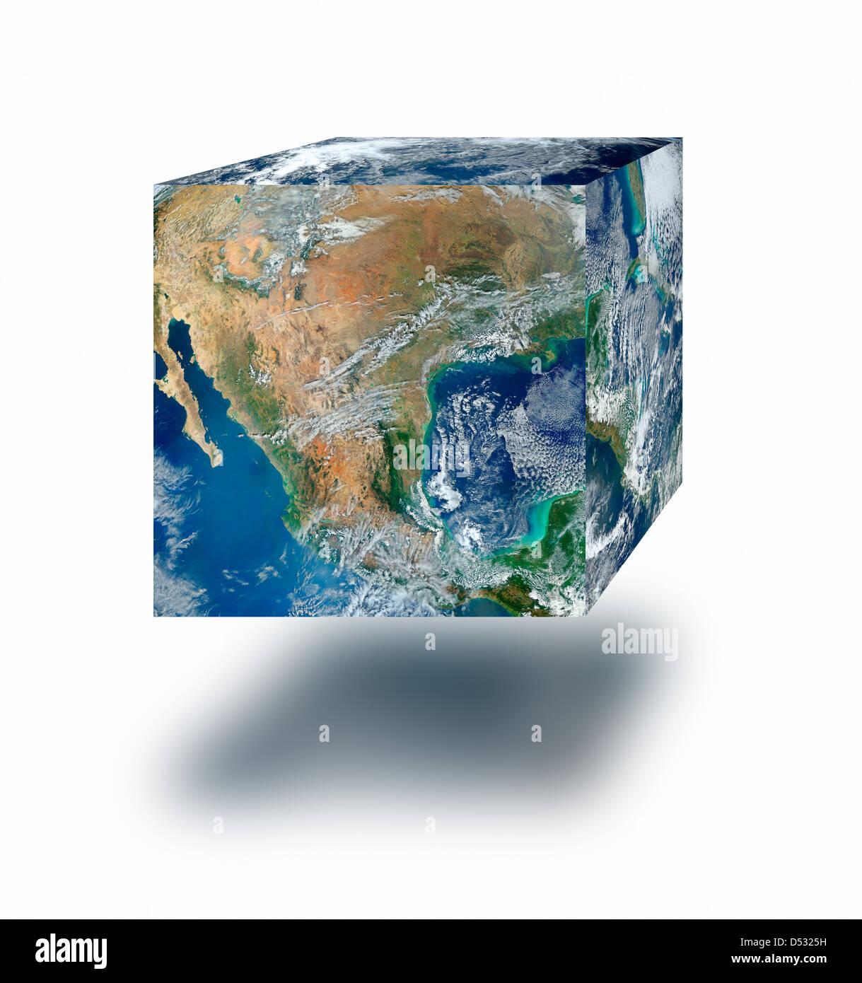 Erde cube Floating Stockbild