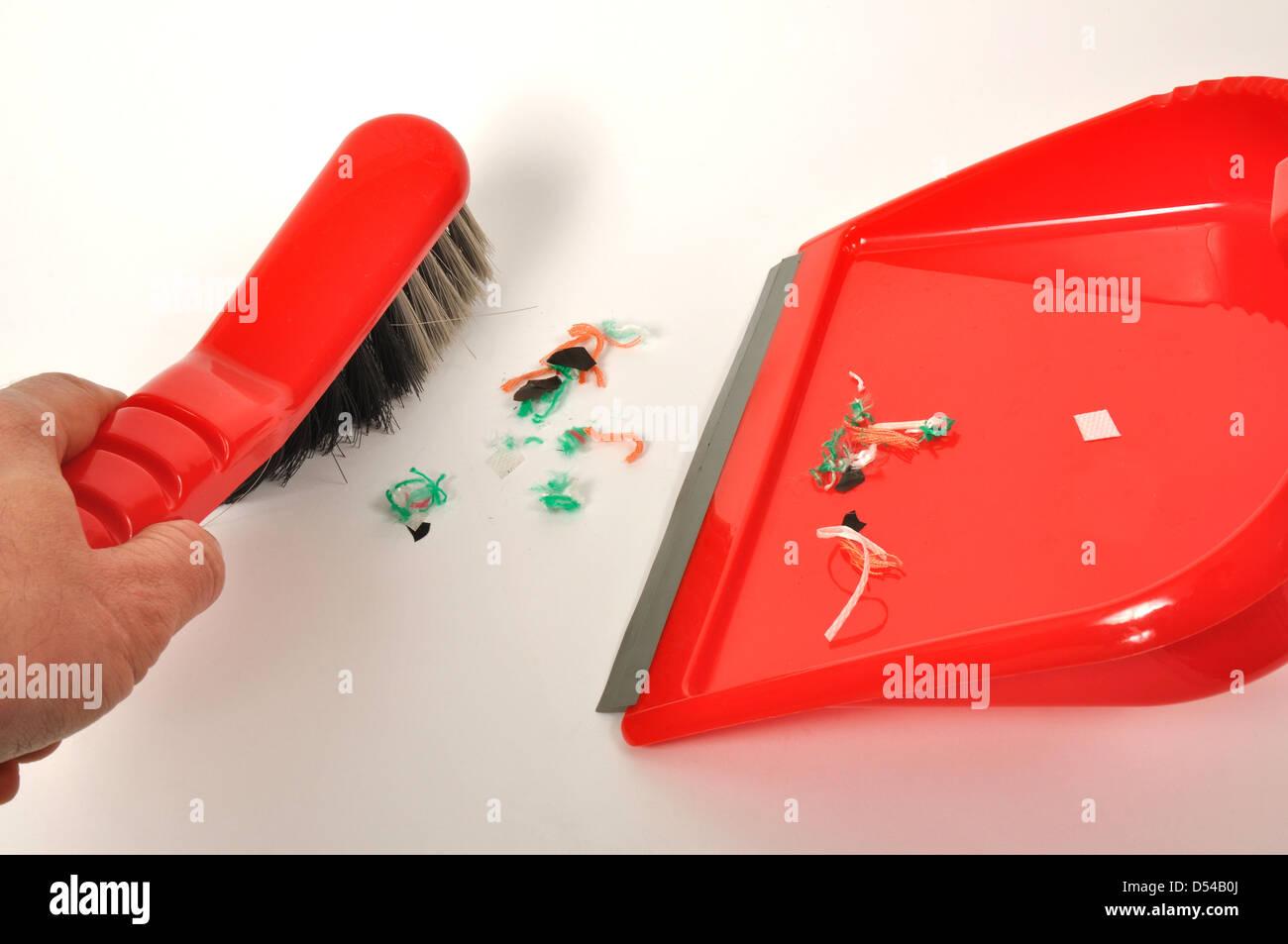 Kehrschaufel und Pinsel Stockbild