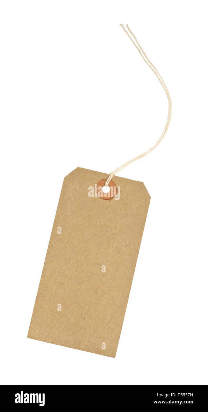 traditionelle Karton Preisschild mit weißen String Gewinde durch die verstärkte Öffnung vor einem Stockbild