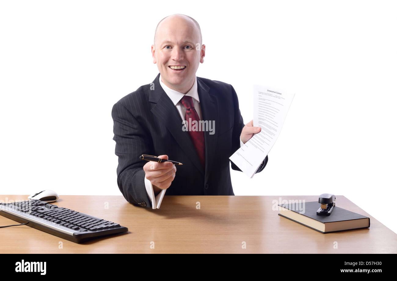 Buisnessman Bietet Einen Stift Arbeitsvertrag Unterschreiben