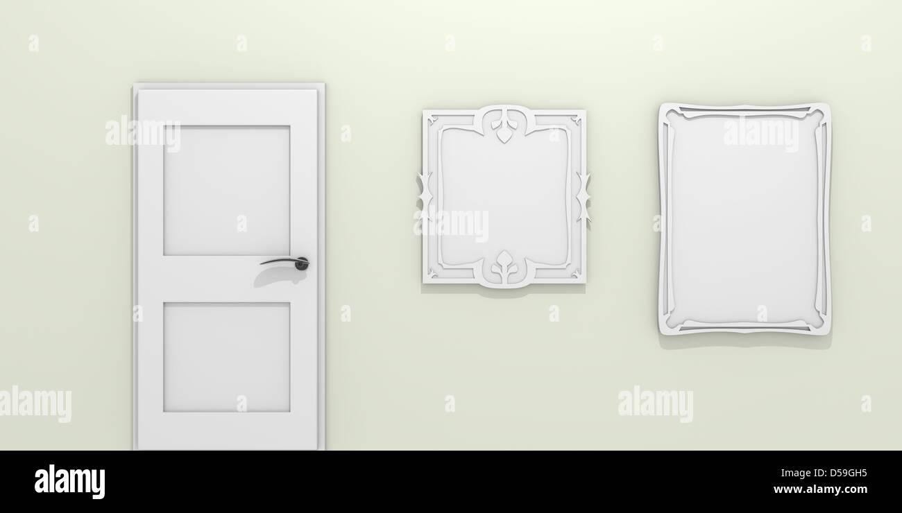 Grüne Wand mit einer Tür und zwei Bilderrahmen Stockfoto, Bild ...