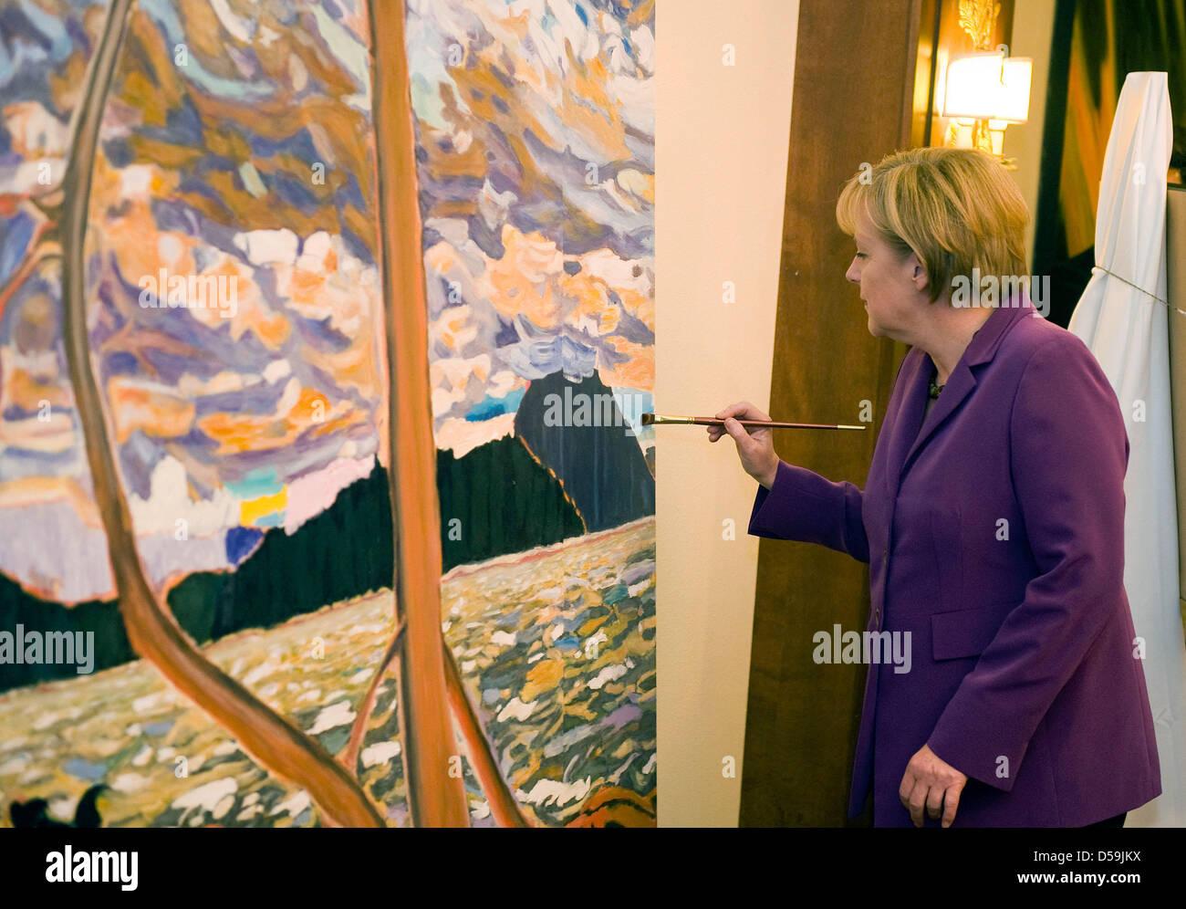 Bundeskanzlerin Angela Merkel Malz Studienabschnitte des G8-closes in Huntsville bin Freitag (25.06.2010) ein Einem Stockbild