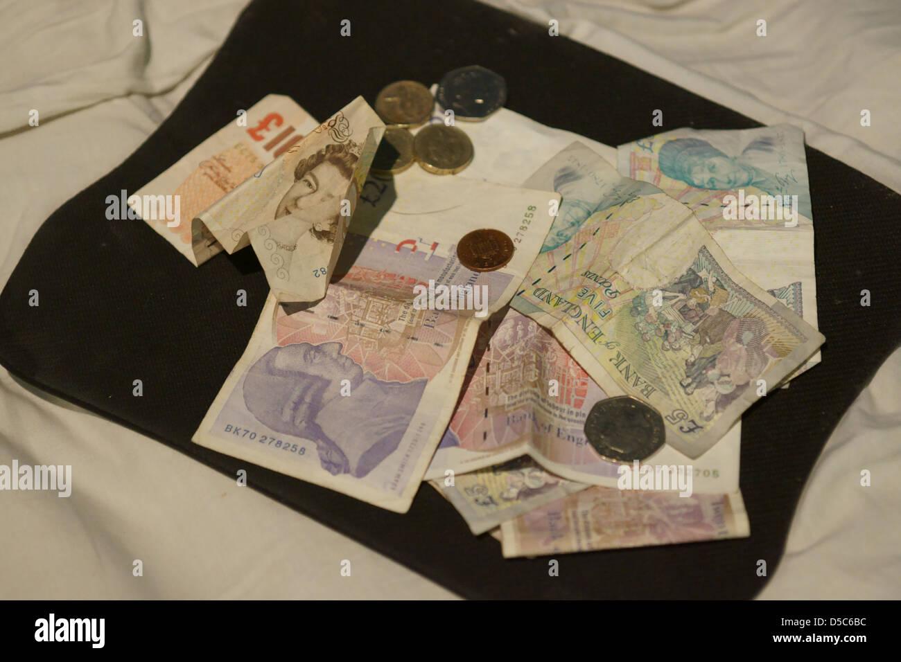 Englisches Geld Münzen Anmerkungen 5 10 20 Stockfoto Bild
