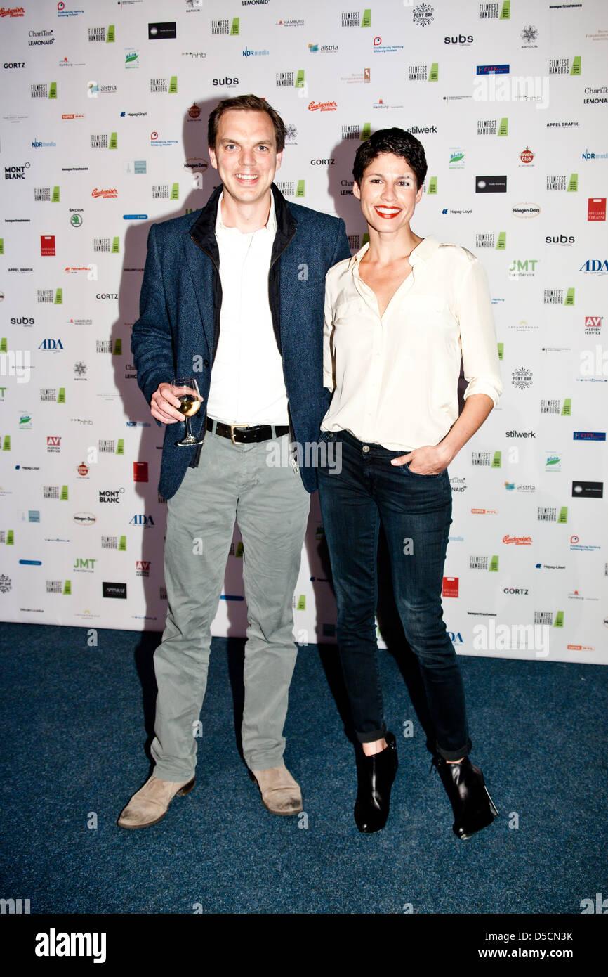 """Andy Gaetjen und Jasmin Gerat bei der Vorstellung des Filmfest Hamburg mit der Premiere von """"Auf Wiedersehen"""" Stockbild"""
