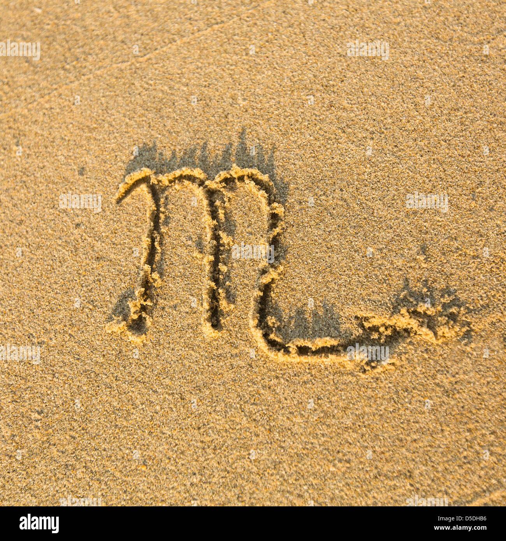 Sternzeichen Skorpion Auf Der Faktur Strandsand Gezeichnet