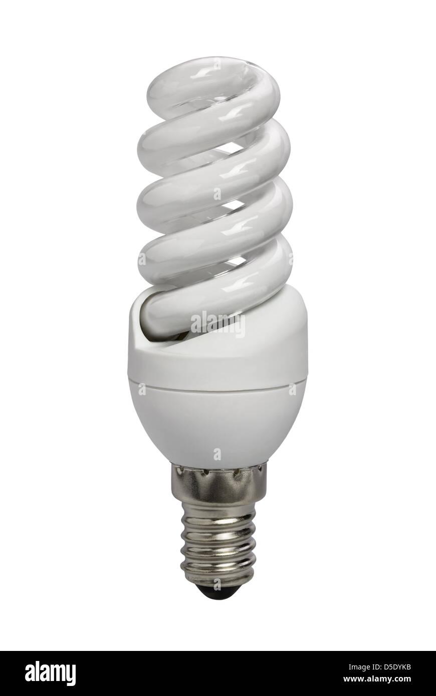 Lampe Energiesparen auf weißem Hintergrund Stockfoto