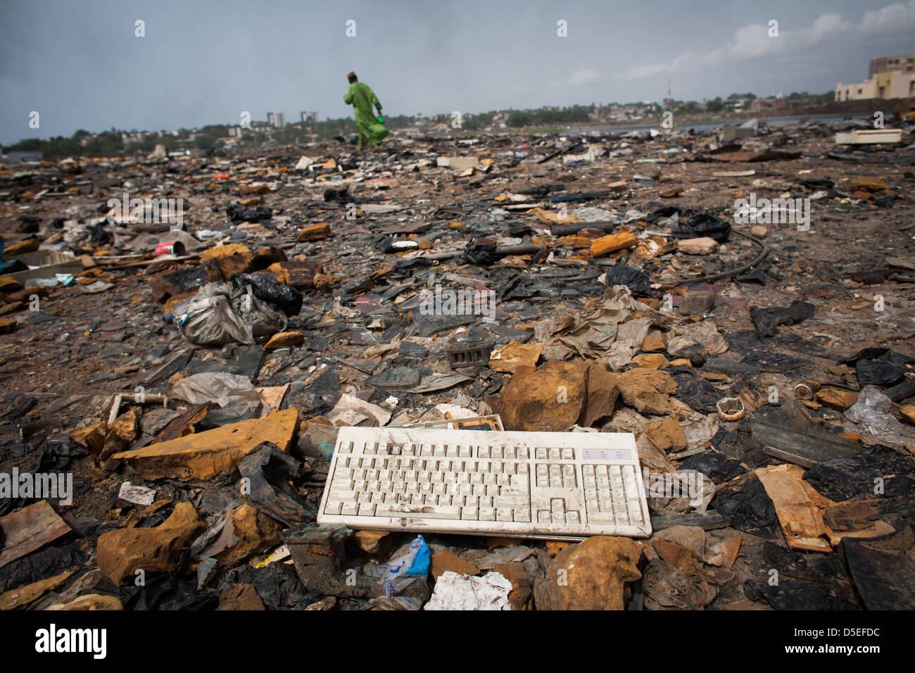 E-Schrott in Agbogbloshie Dump, Accra, Ghana. Stockbild