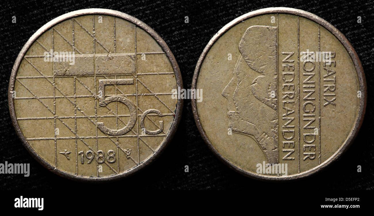 5 Gulden Münze Königin Beatrix Niederlande 1988 Stockfoto Bild