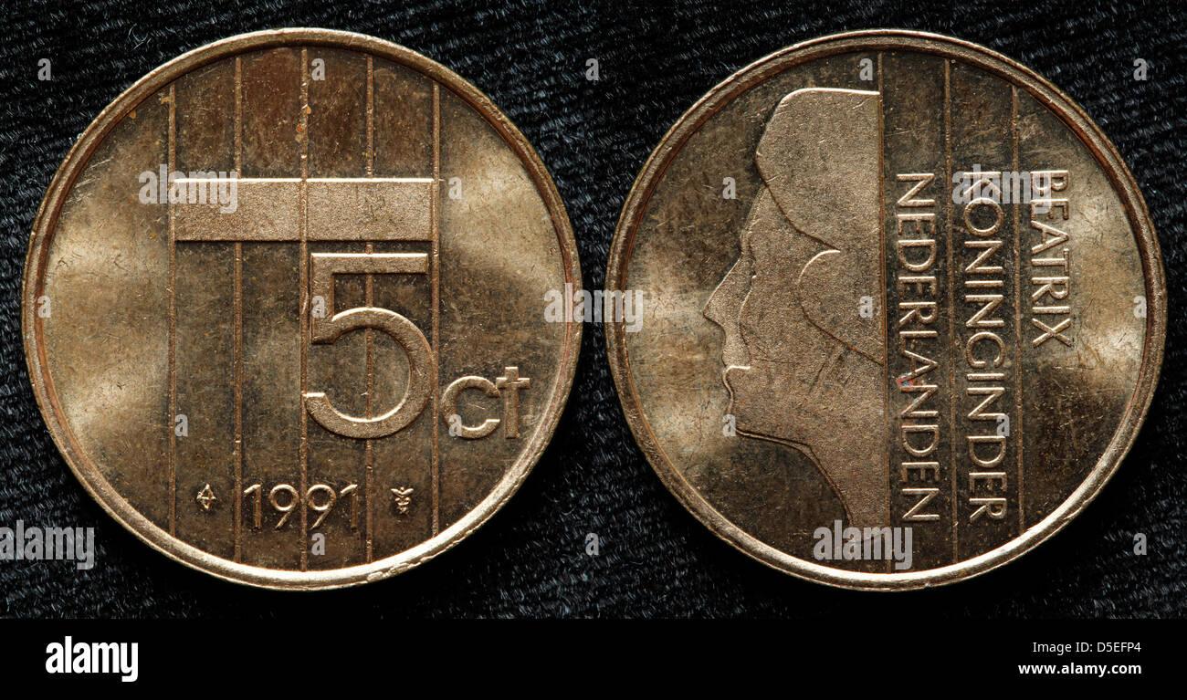 5 Cent Münze Königin Beatrix Niederlande 1991 Stockfoto Bild