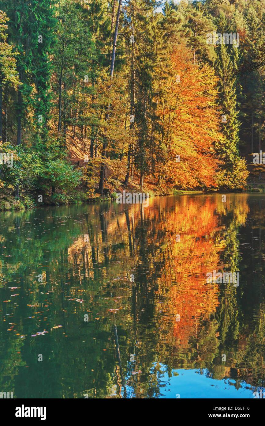 Herbst am Amselsee See, Kurort Rathen, Nationalpark Sächsische Schweiz, in der Nähe von Dresden, Sachsen, Stockbild