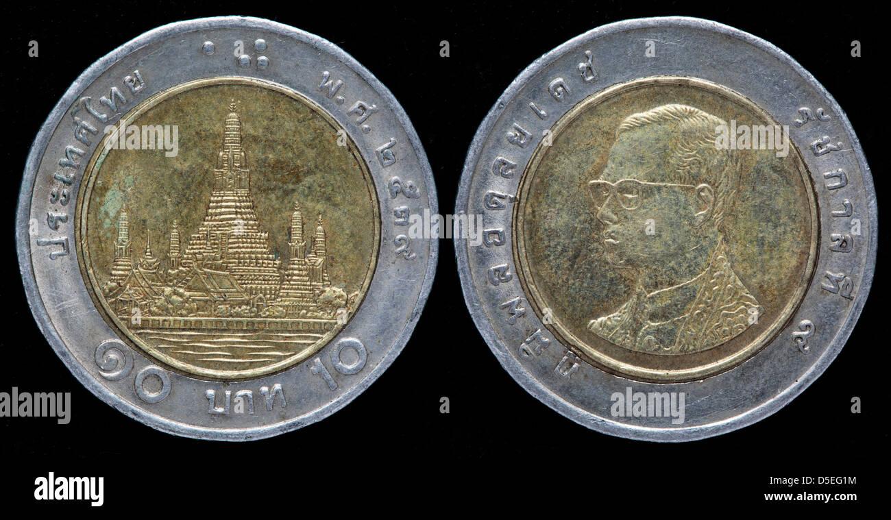 10 Baht Münze Tempel Der Morgenröte Thailand Stockfoto Bild