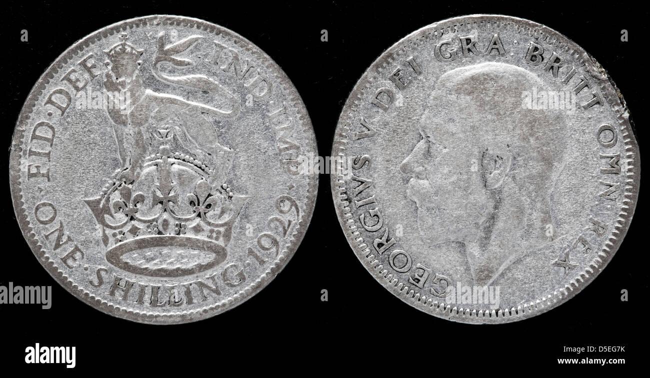 1 Schilling Silber Münze König George V Uk 1929 Stockfoto Bild