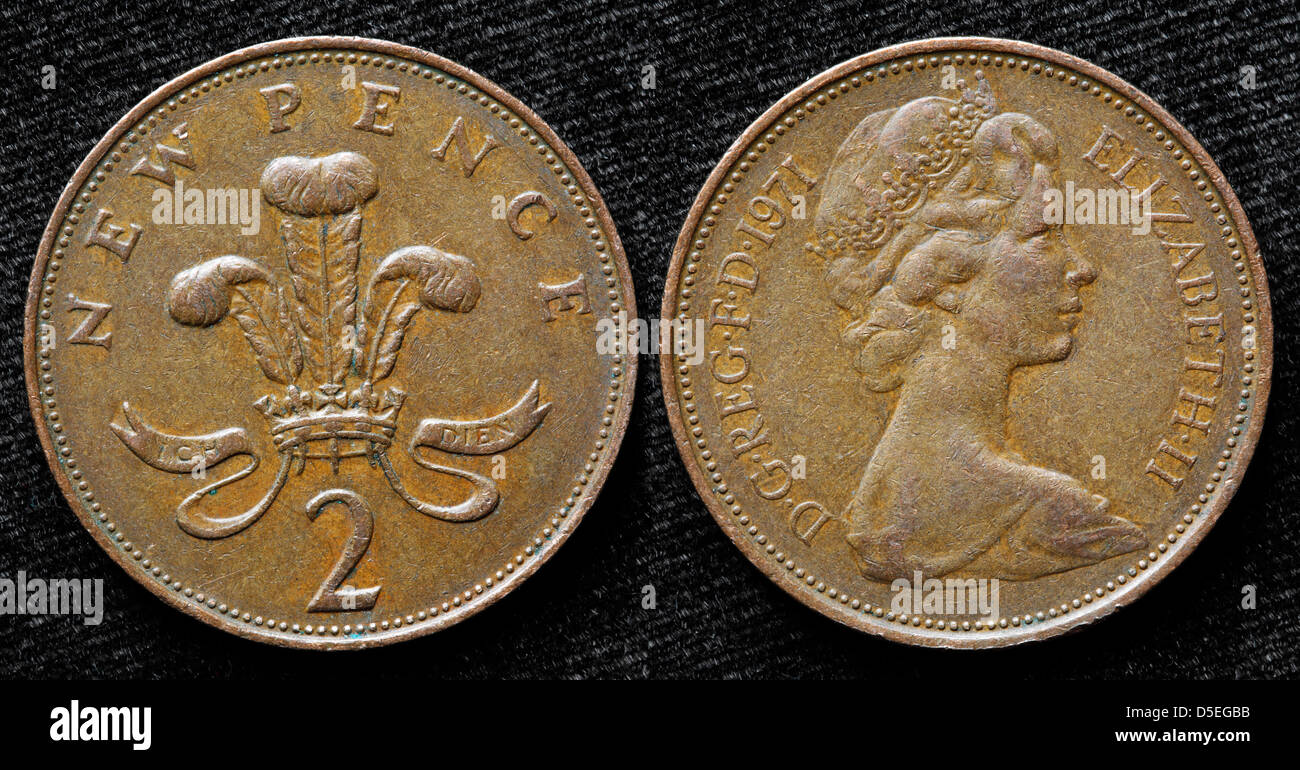 2 Pence Münze Uk 1971 Stockfoto Bild 55024575 Alamy