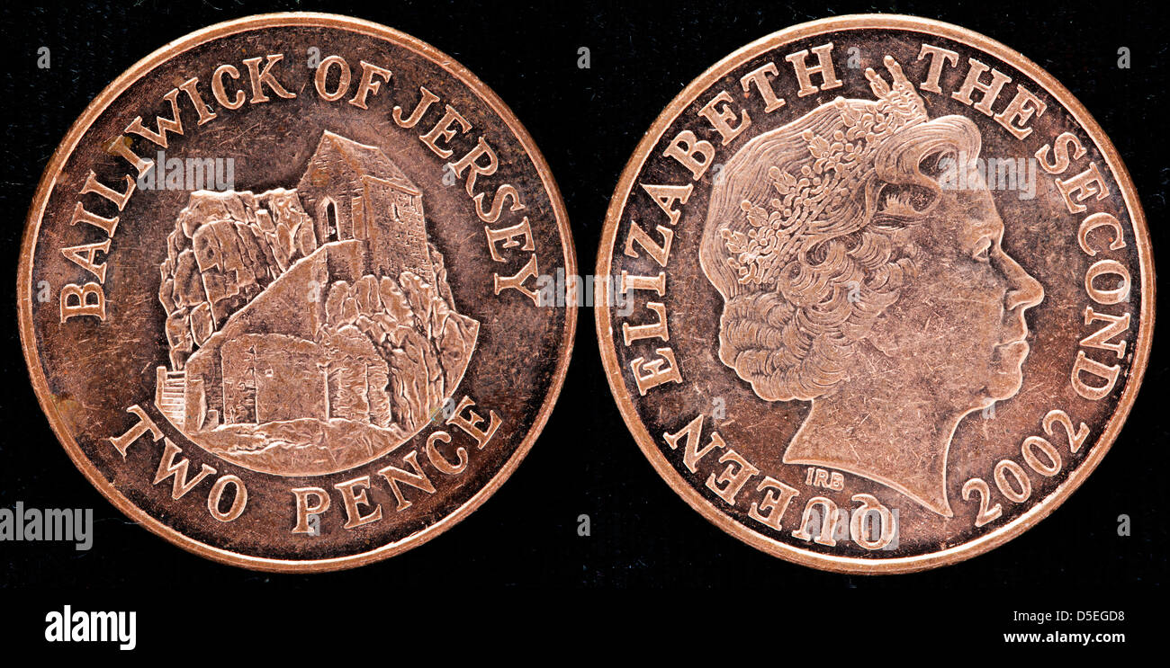 2 Pence Münze Bailiwick Of Jersey Uk 2002 Stockfoto Bild