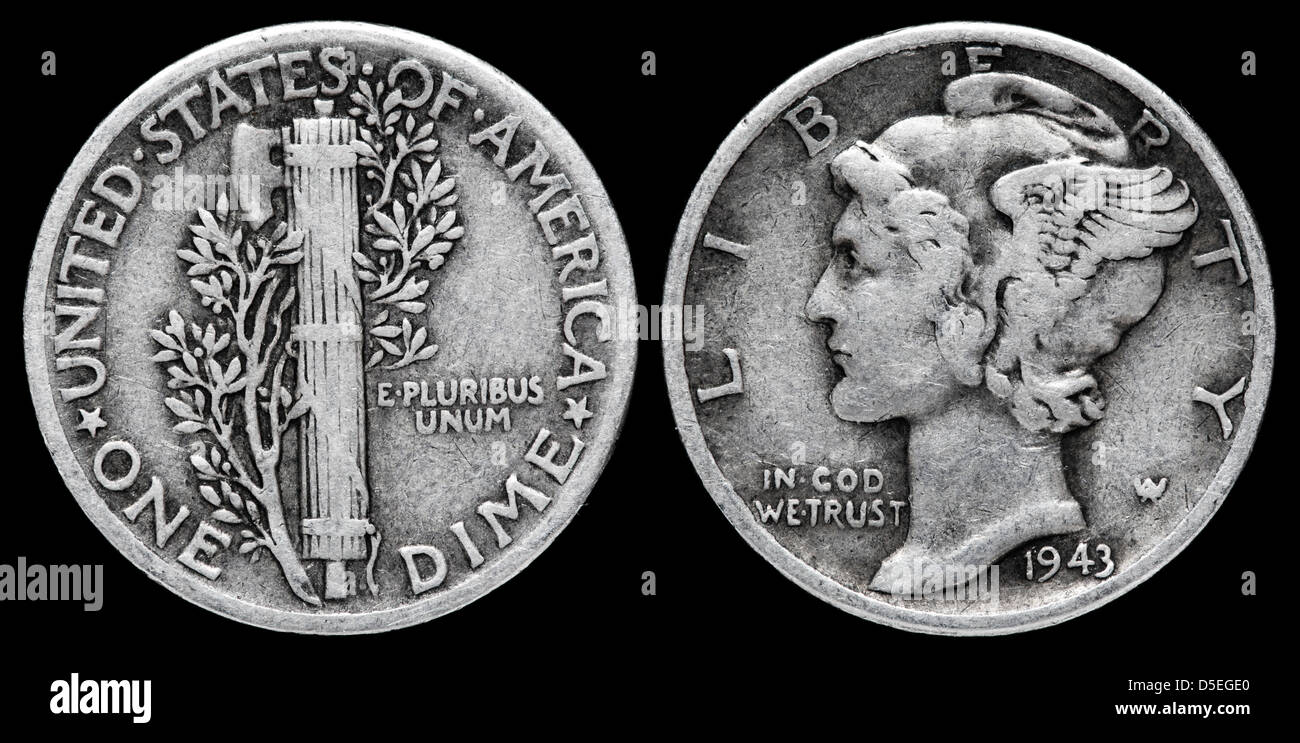 1 Dime 10 Cent Silber Münze Mercury Dime Usa 1943 Stockfoto