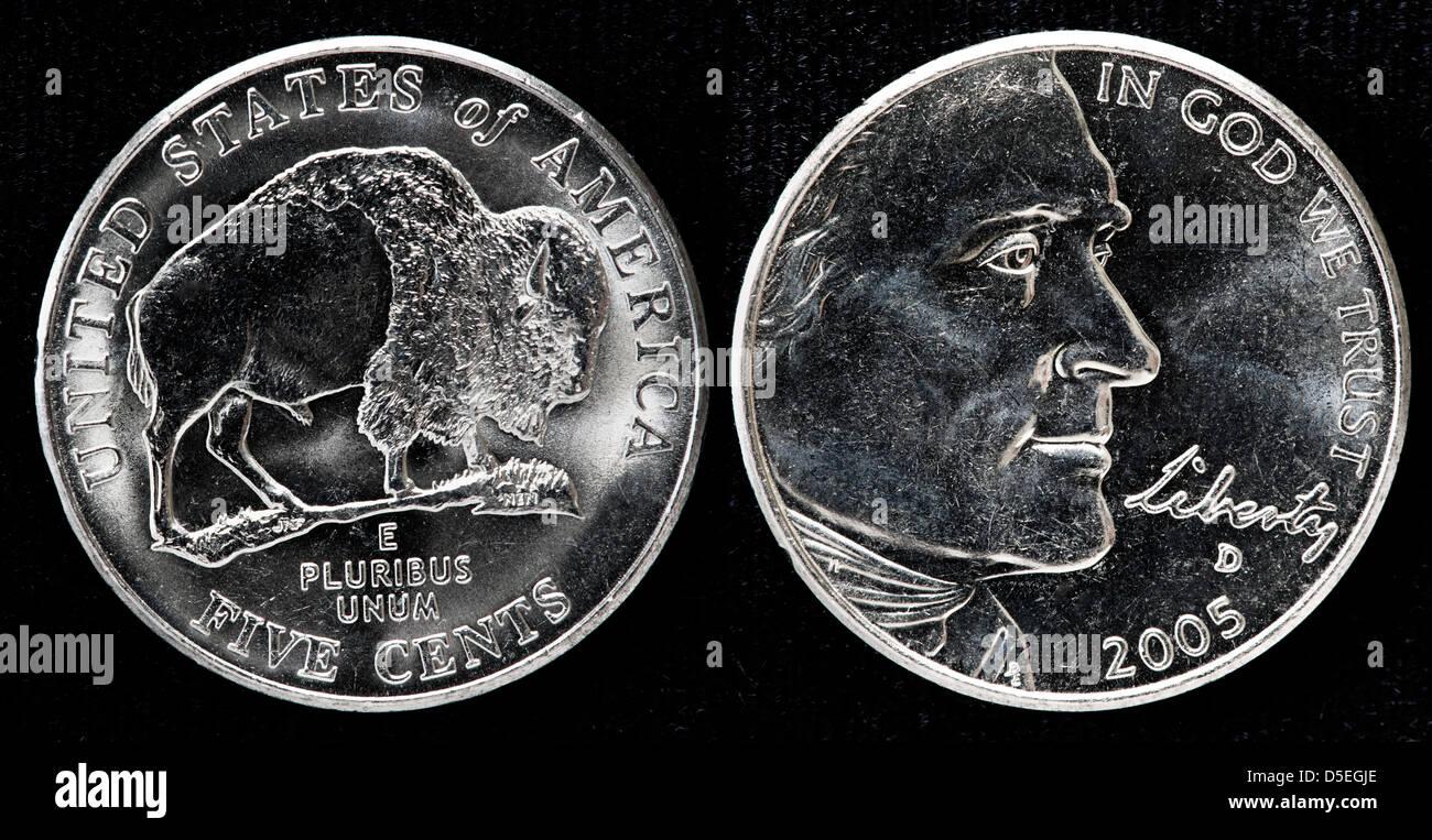 5 Cent Münze Thomas Jefferson Amerikanischer Bison Usa 2005