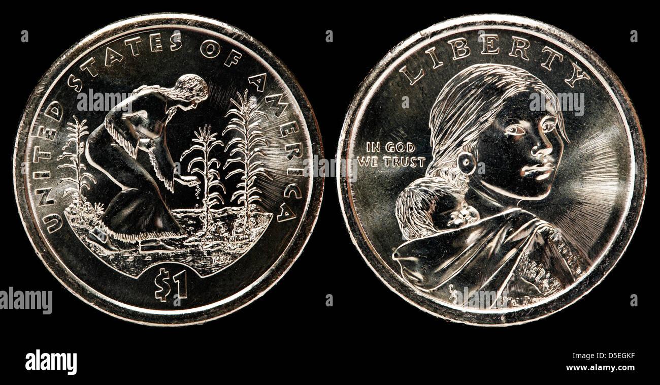1 Dollar Münze Sacagawea Dollar Indianische Weibliche Pflanzen