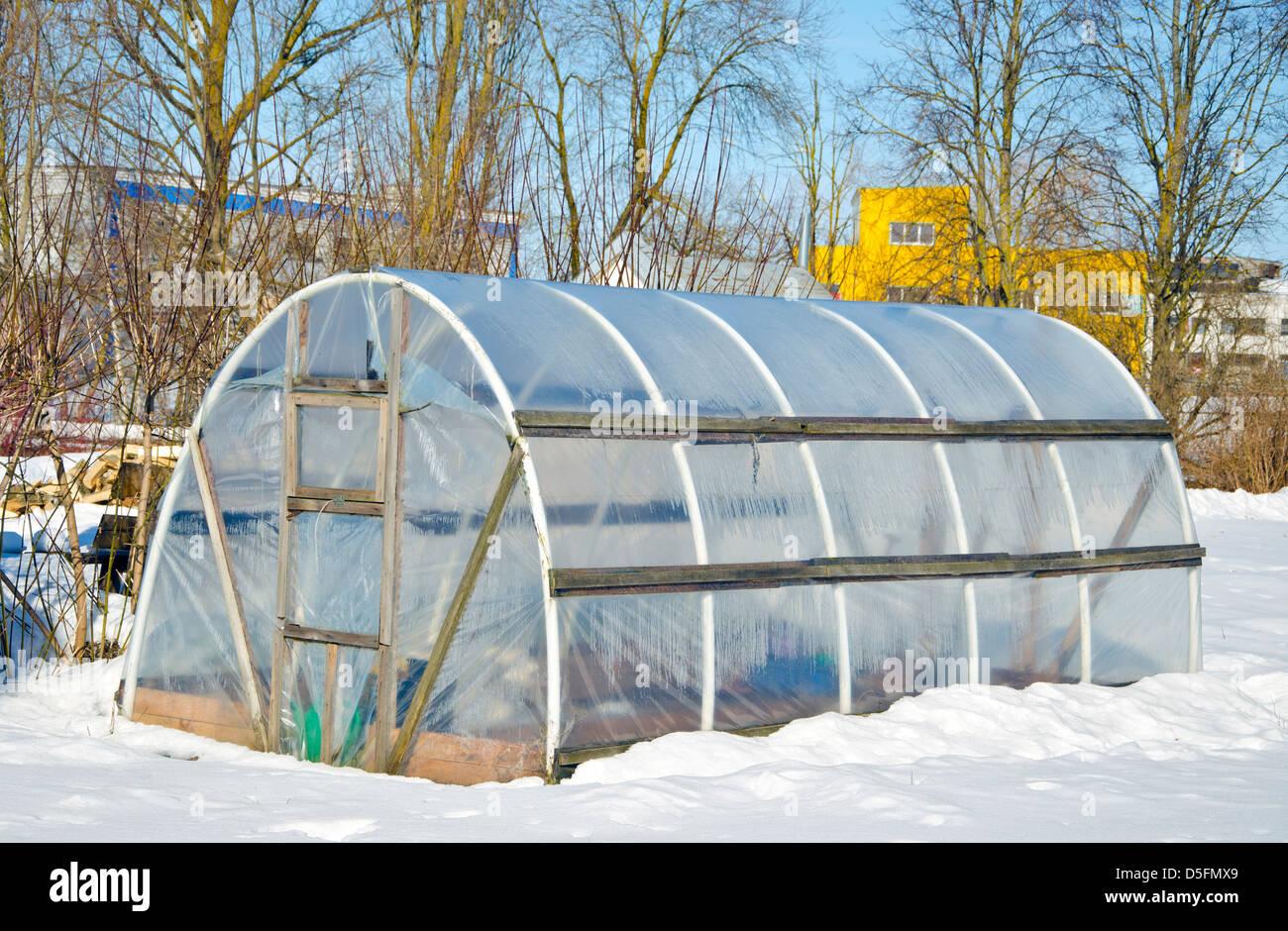 Handgemachte Polyethylen Gewachshaus Fur Gemuse Im Winter Auf Schnee