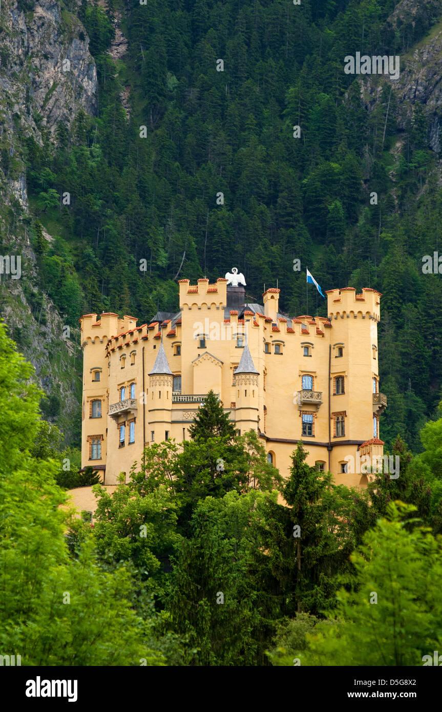Schloss Hohenschwangau Schloss, Schwangau in der Nähe von Füssen, Allgäu, Bayern, Deutschland Stockbild