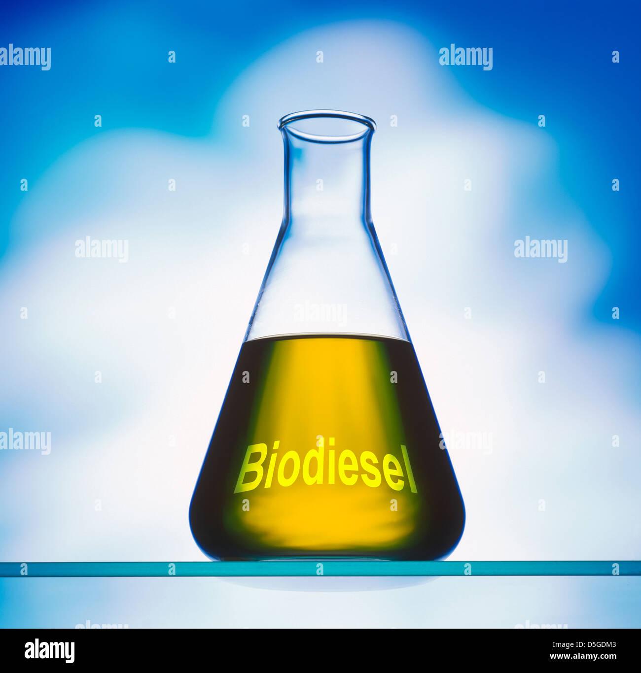 Biodiesel in Erlenmeyerkolben vor blauem Hintergrund Stockbild