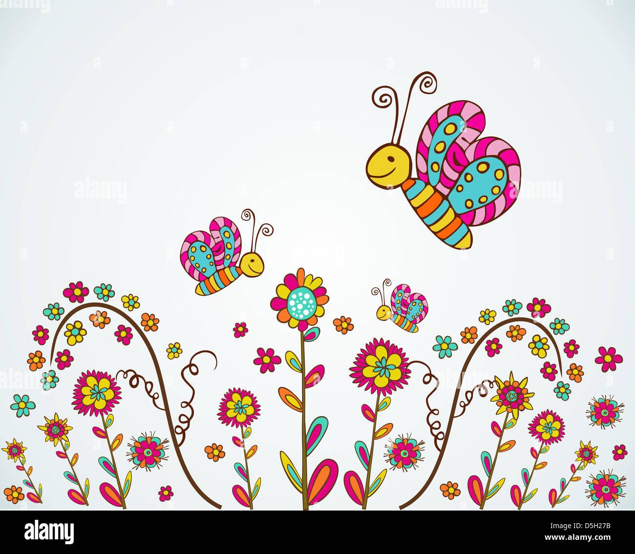 Bunte Frühlingsblumen und Schmetterling hand zeichnen Hintergrund ...