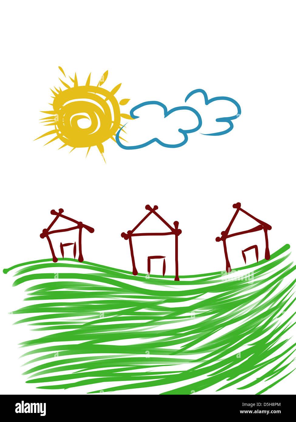 Kindliche Darstellung von Häusern und Sky Stockbild