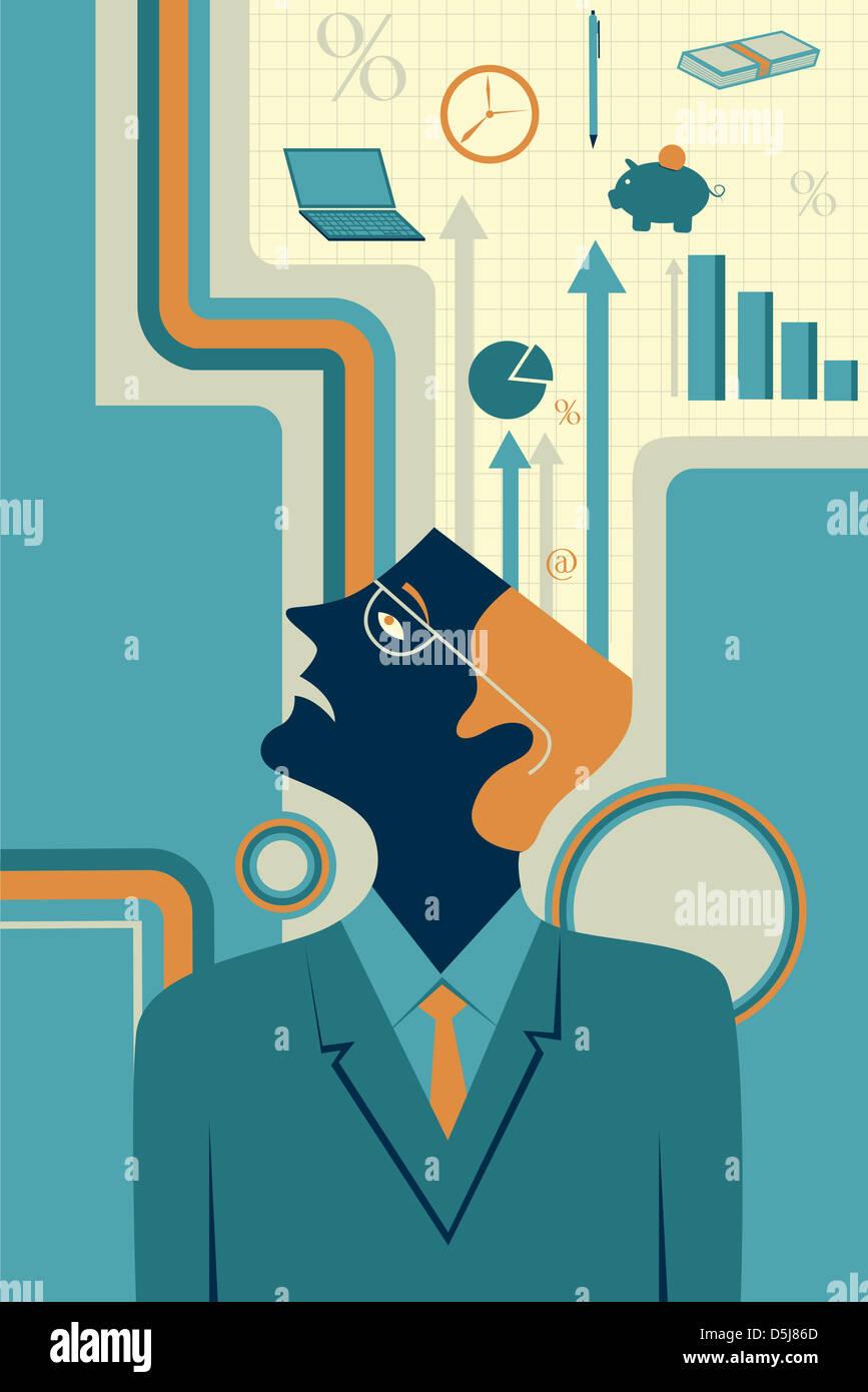 Anschauliches Bild der nachdenklich Geschäftsmann, Business-Strategie darstellt Stockfoto