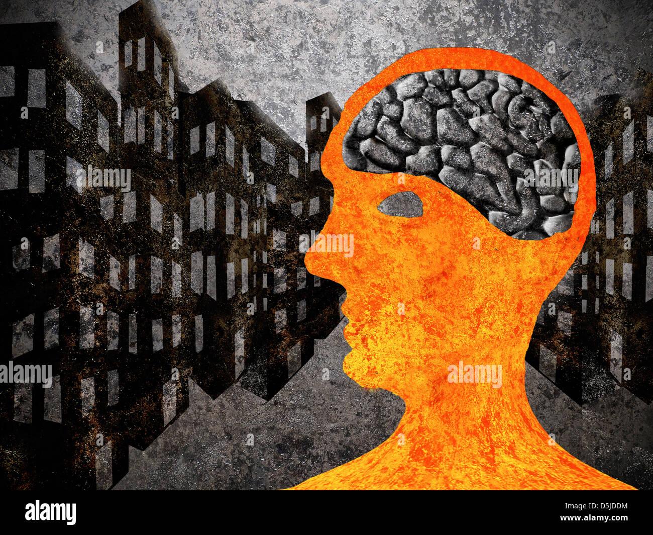 Stadt-Mann mit Asphalt Gehirn Stockbild