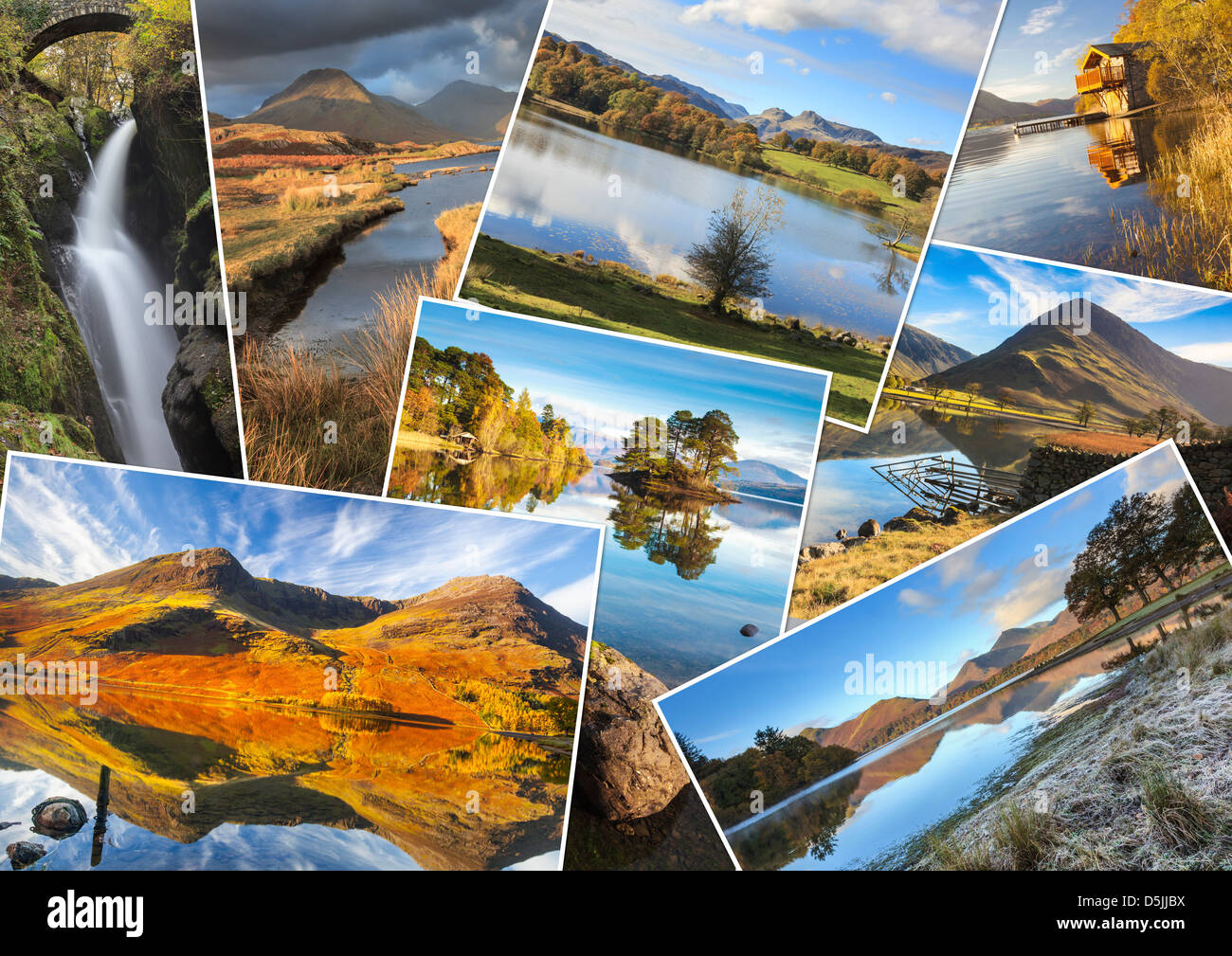 Eine Montage von 8 Bildern des Lake District National Park Stockbild