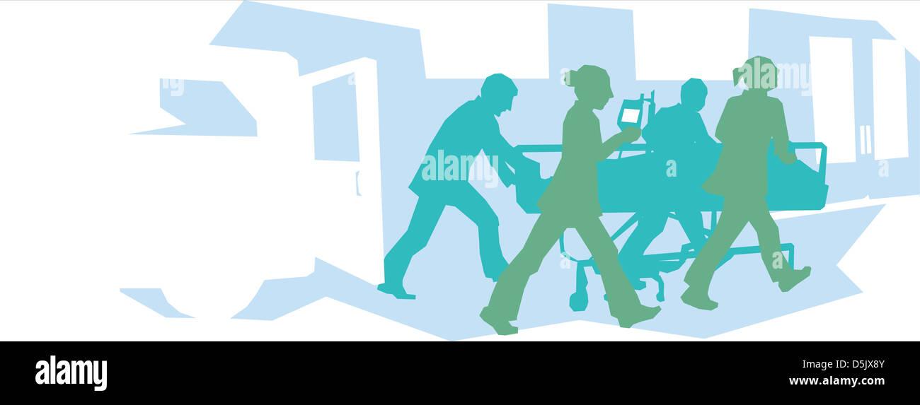 Krankenhauspersonal Machenschaften bei einem Patienten in der Notaufnahme Stockfoto