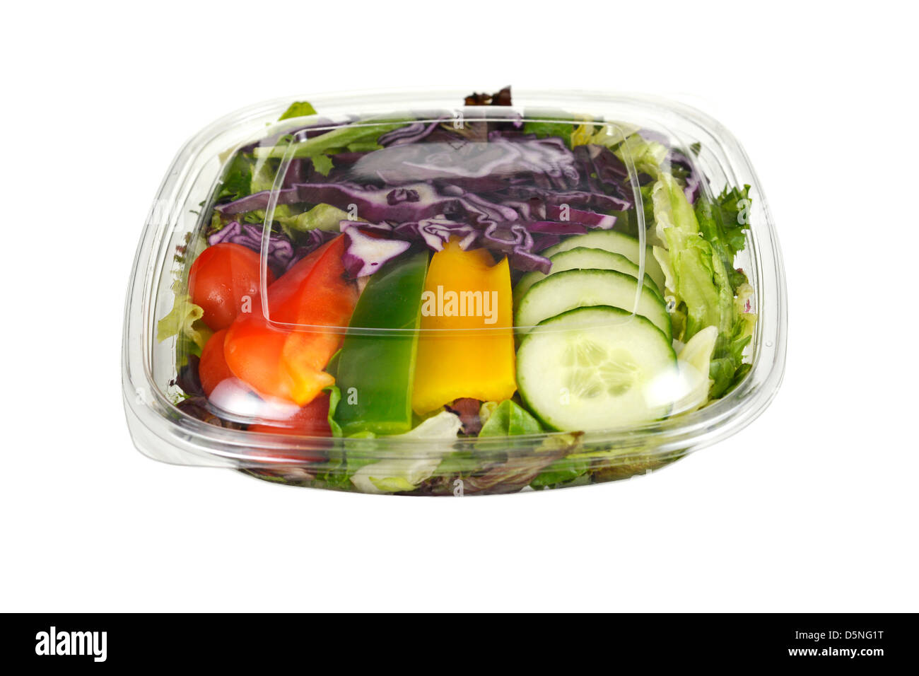 Verpackte Salat, Salat in Kunststoffbehälter Stockbild