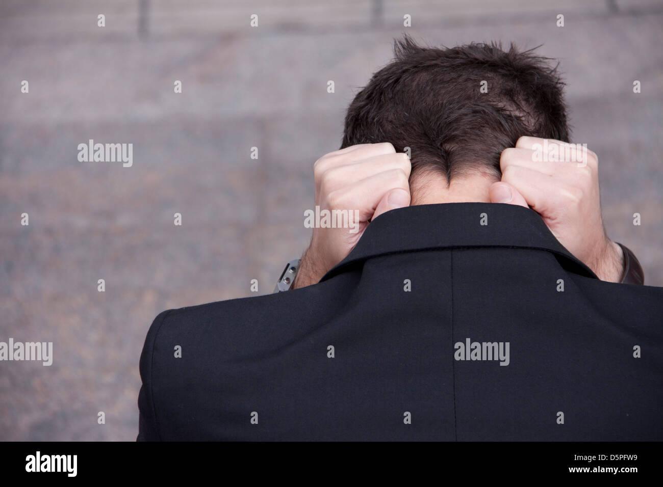 Mann in Aufruhr Stockbild