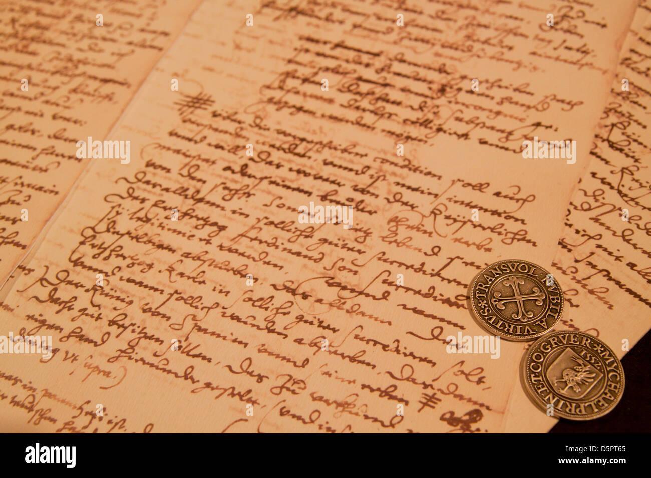 Ein Alter Brief Erhalten In Einem Museum In Der Schweiz Stockfoto