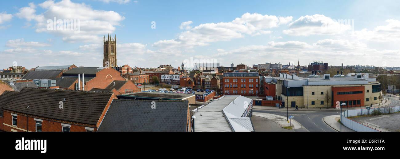 Zentrum-Panorama Skyline der Stadt Derby Stockbild