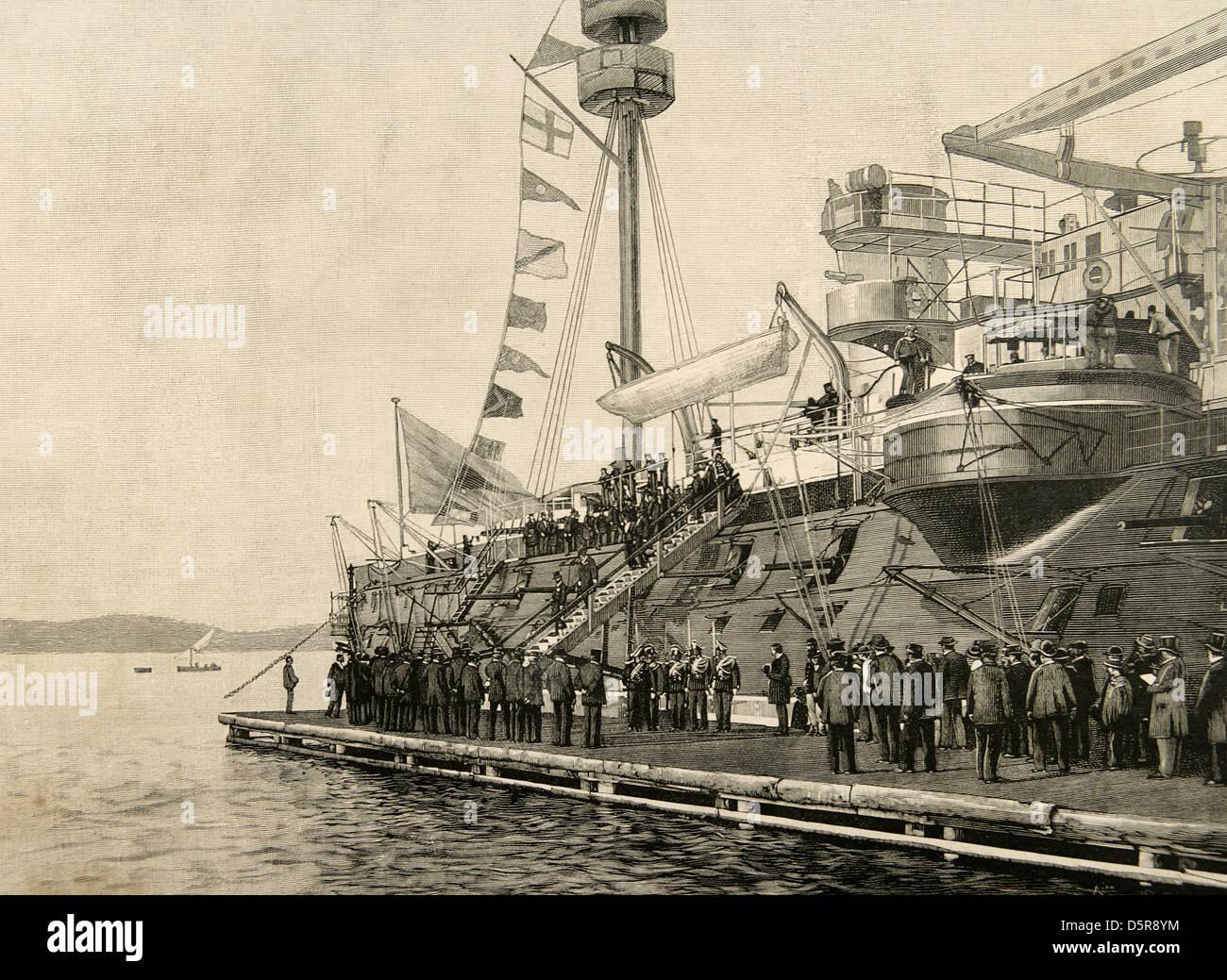 Marie Francois Sadi Carnot (1837 ? 1894), Präsident der dritten französischen Republik, das Schlachtschiff Stockbild