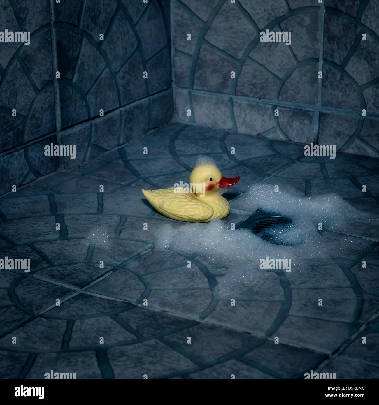 eine Gummiente mit Schaum sitzen in der Dusche Stockfoto
