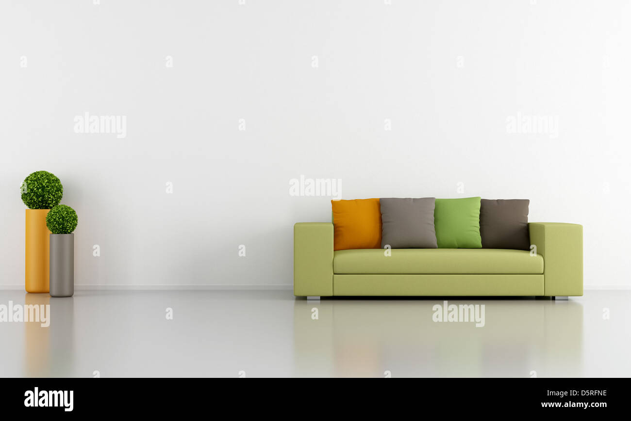 Weiß Wohnzimmer mit bunten moderne Couch - Rendering Stockfoto, Bild ...
