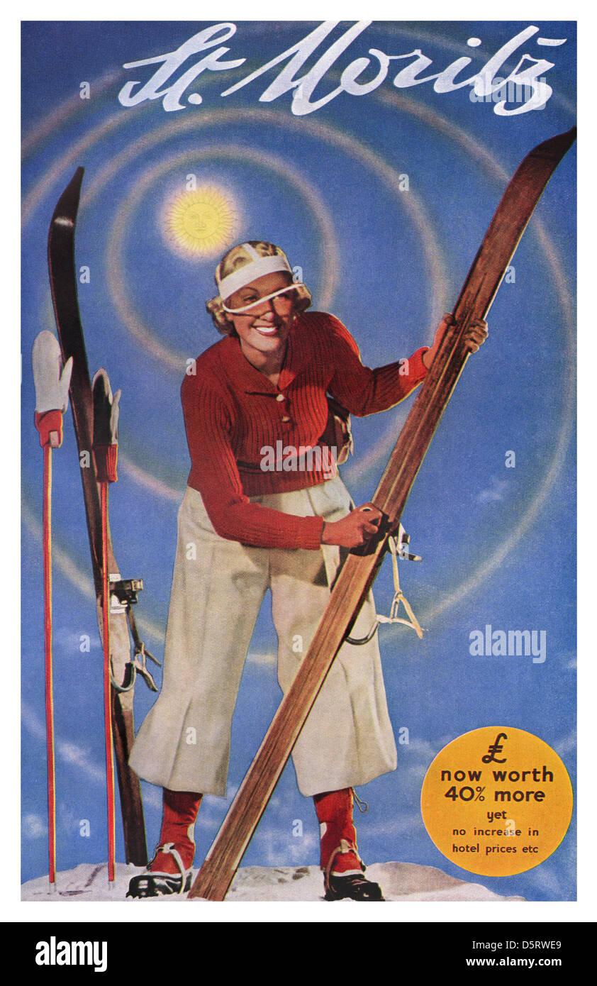 1930 billboard Farbe poster Förderung Skiurlaub mit dem britischen Pfund im Wert von 40% mehr in St. Moritz Stockfoto