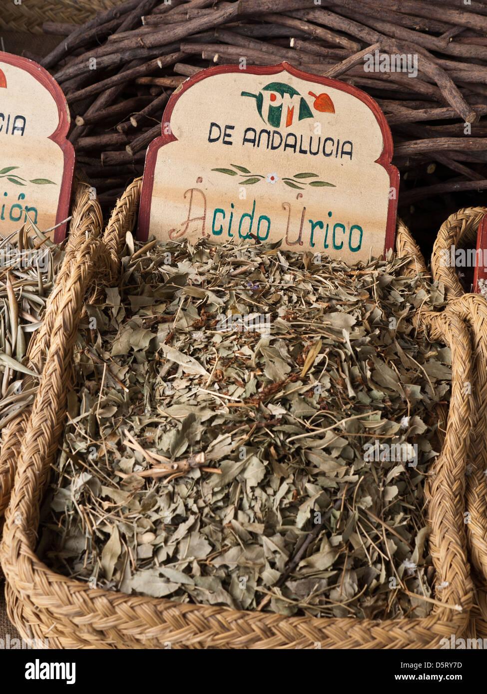 pflanzliche Heilmittel auf dem Display für Verkauf Marktstand Palma De Mallorca Spanien Stockbild