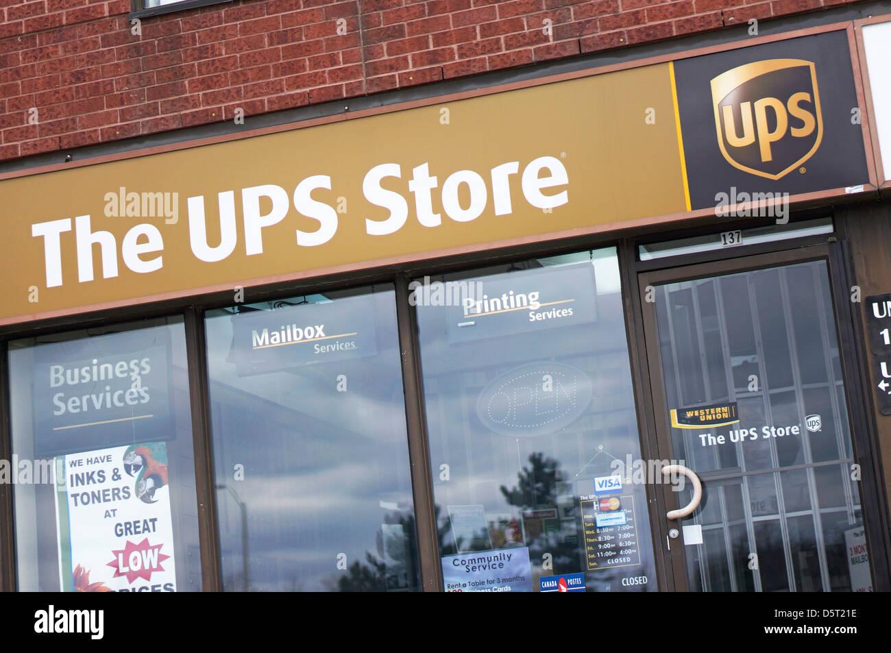 UPS, United Parcel Service Store Stockbild