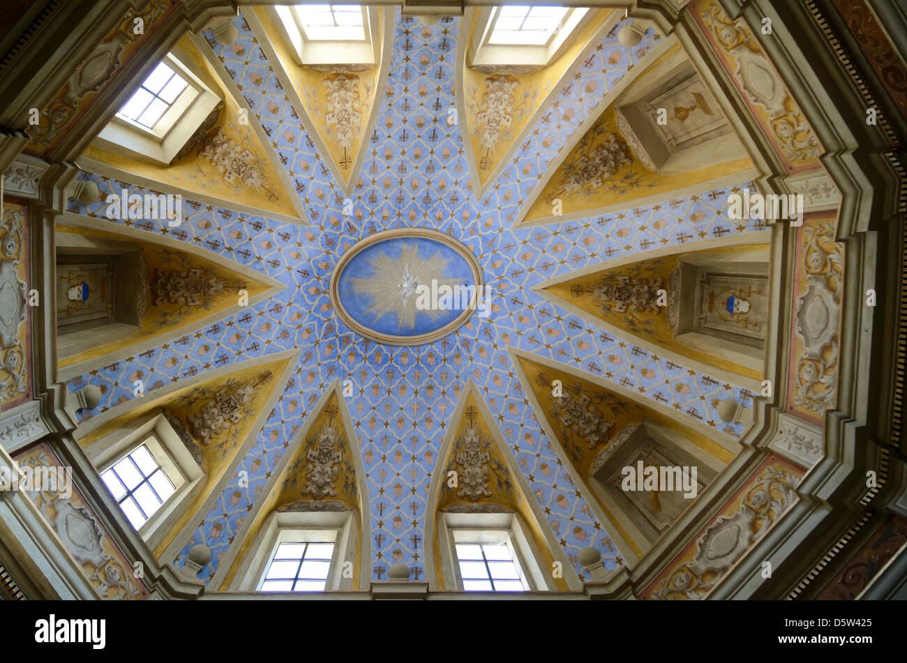 Malte Barockdecke und innere St. Michel Kapelle La Brig Roya-Tal Alpes-Maritimes Frankreich Stockbild