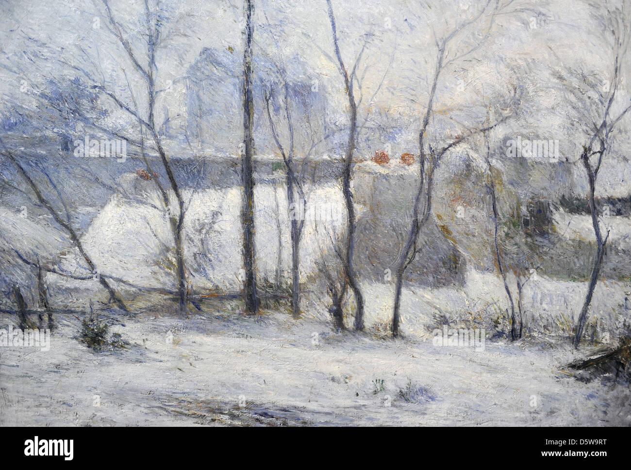 Paul Gauguin (1848-1903). Französischer Maler. Winterlandschaft, 1879. Öl auf Leinwand, Museum der bildenden Künste. Stockfoto