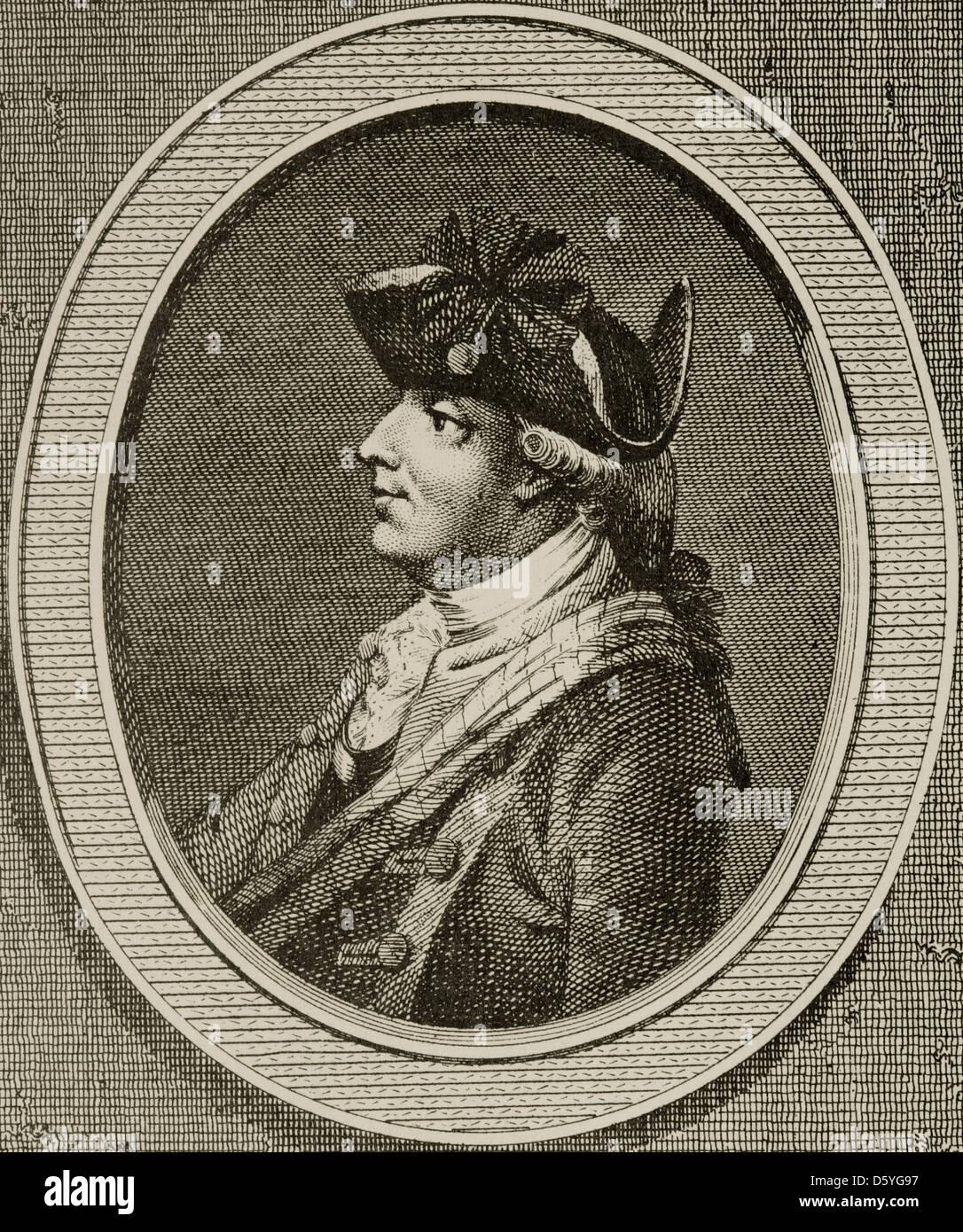 Henry Clinton (1730-1795). Britische Militär und Politiker. Gravur in amerikanische Revolution. Stockbild