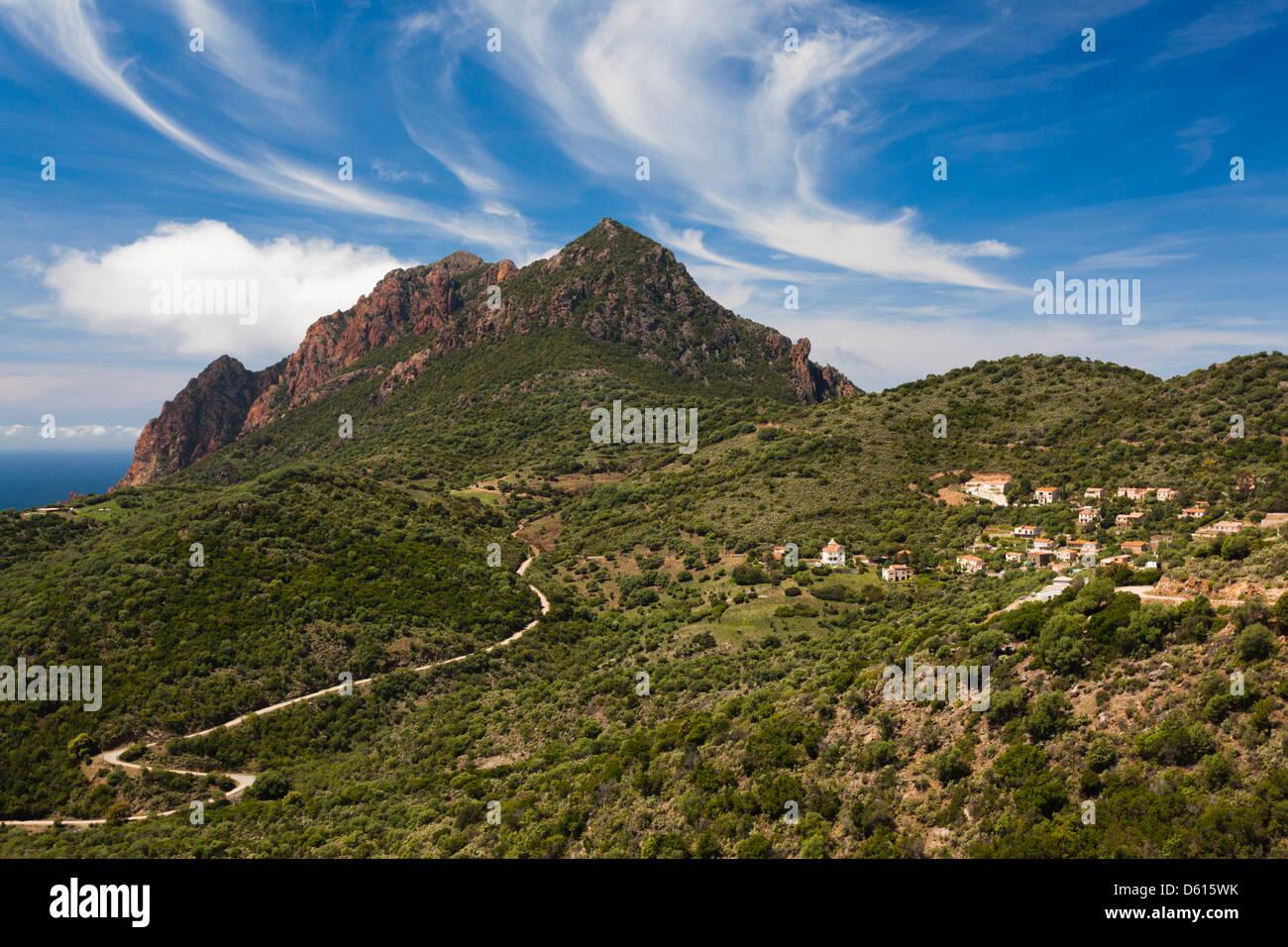 Frankreich, Korsika, Golfe de Girolata Golf, erhöht, Ansicht Stockbild